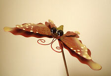 Glitterfly Butterfly Bling Outdoor Yard Garden Stake Red Gold C12