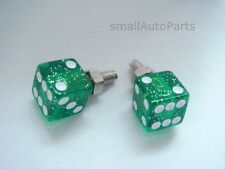 2 Green Glitter DICE License Plate Frame BOLTS Screw Caps for motorcycle/hot rod