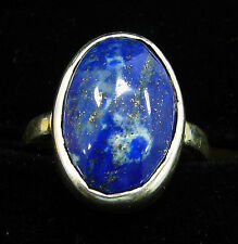 925 Sterling Silver Handmade Blue Lapis Lazuli Stone Ring Size 6.50 US - 1018