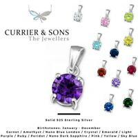 925 Sterling Silver Round Cubic Zirconia Birthstone Pendant Necklace (Chain Inc)