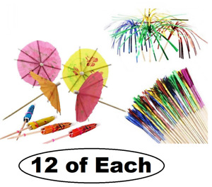 Cocktail Party Pack Drinks Umbrellas & Sparkle Fireworks Palm Sticks Decorations