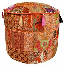 Large Pouf Ottoman Covers Multi Vintage Patchwork Foot Stool Kantha Stitch