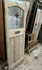 RECLAIMED 1930's FRONT DOOR - Leaded Glass - Now Dipped - (Art Deco / Vintage)