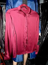 womans liquid satin blouse shiny burgundy pussy bow mistress secretary 50 chest