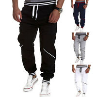 Men Fit Striped Sports Elastic Leg Trousers Casual Pencil Jogger Cargo Pants