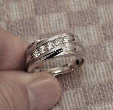 NEW MEN'S WHITE GOLD HALF CARAT CHANNEL SET DIAMOND BAND RING (size 10.5)