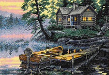 Cross Stitch Kit ~ Gold Collection Morning Lake Log Cabin #65091