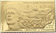O4212 Timbre Monnaie 70 cents Libération Strasbourg 1944 Leclerc Vermeil PROOF