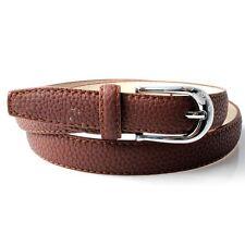 Para mujer de color marrón oscuro 105cm Texturado Pu cinturón con relieve en hebilla De Plata