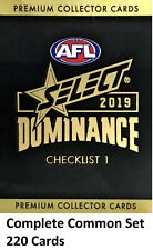 2019 AFL SELECT DOMINANCE COMPLETE COMMON FULL BASE SET 200 CARDS 18 TEAMS