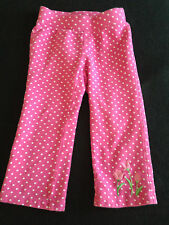 Girls 2T Gymboree Bright Tulip Pink White Knit Pants Tulips Polka Dot  Floral