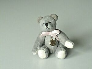 Teddy Hermann jointed collectable grey miniature teddy bear in box 154105