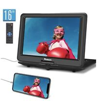"Portable DVD Player 19"" with 6 Hours Battery 16"" Swivel Screen HDMI USB+Handbag"