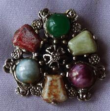 Vintage Multi-Coloured SCOTTISH Agate Stone CELTIC Brooch