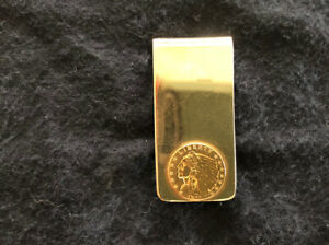 Men's 14K Yellow Gold Money Clip With 1911 US $2.50 Gold Indian Head Coin