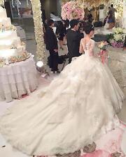 Luxus Kathedrale Hochzeitskleid Weiß Elfenbein lange Ärmel Brautkleid Prinzessin