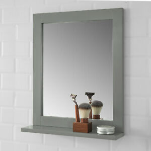 SoBuy Spiegel Wandspiegel Badspiegel mit Ablage stahlgrau BH: 40x50cm FRG129-SG