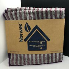 Norwex Body Pack LAVENDER & GRAPHITE STRIPE ~ BacLock Cloth Pack of 3 NEW!