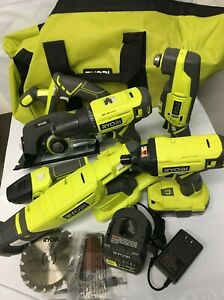 RYOBI P1819 18V One+ Cordless 6 Tool Kit Set Impact Drill Driver Saw, LN KIT