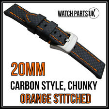 • 20mm Black Carbon Fibre, Orange Stitched Chunky Leather Watch Strap + Buckle •