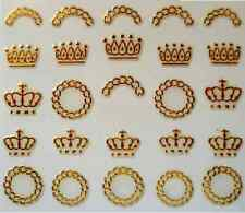 3D Nail Art Decals Transfer Stickers Gold Coloured Crowns (3D6015)