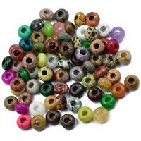 6 x Mixed Large Hole Rondelle Gemstones Jade Jasper Beads Jewelry Making
