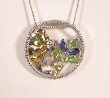 Virgo Zodiac Pendant, Sapphire/Peridot/Diamond, 14K YG/925 Sterling Silver, New
