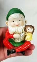"Vintage Homco Christmas Naughty Elf Figurine Ceramic Evil Helper 3.5"" Foil Label"