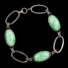 Antique Vintage Art Deco Sterling Silver Jade Colored Peking Glass Bracelet