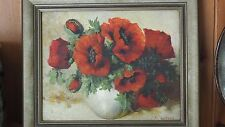Rare Fia van Driel/Tilly Moes, Still Life of Anenomes, Oil on board.  Exquisite