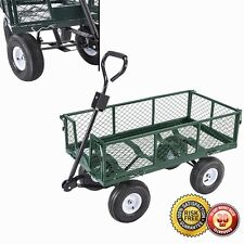 New Heavy Duty Utility Wheelbarrow Lawn Wagon Cart Dump Trailer Yard Gdn Steel