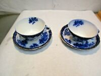 "2 vintage Stanley Pottery Flow Blue Touraine Pattern Cups & Saucers 4.25""x2.25"""