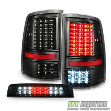 2009-2017 Dodge Ram 1500 Blk Full LED Tail Lights+Smoke LED 3rd Brake Cargo Lamp