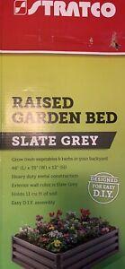 Stratco LG18424 Raised Garden Bed, Slate Gray Metal,  46 x 35 x 12-In. -