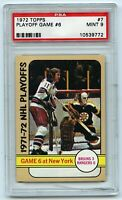 1972-73 Topps #7 Playoff Game 6 Bruins 3 Rangers 0 Graded 9.0 MINT (2021-50)