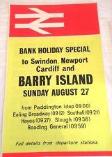 British Rail orange yellow Wales train Poster Barry island Swindon neon