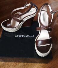 Giorgio Armani Mocca Leather Wedge Sandals Size 40.5