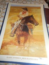 "ARTIST SIGNED   Bart Forbes poster print "" Red Bandana ""   Cowboy art"