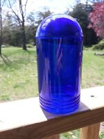 Vintage Blue Glass Dome Industrial Outdoor Exterior Light Cover Shade Tower