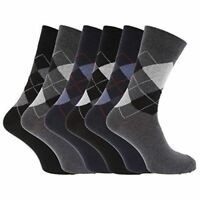6 PAIR Mens SOCKS-PATTERN ARGYLE SOCK-Cotton Rich Socks 6-11 UK .WHOLESALE PRICE