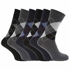 b8a0c8184d807 6 PAIR Mens SOCKS-PATTERN ARGYLE SOCK-Cotton Rich Socks 6-11 UK