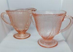 Art deco Hazel Atlas Royal Lace Pink Depression Glass 1930 Sugar Bowl & creamer