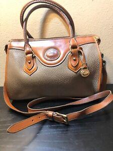 Vintage Dooney & Bourke Taupe Leather Brown Trim Satchel Hand Shoulder Bag