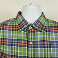 Bugatchi Uomo Classic Fit Mens Blue Green Red Plaid Dress Button Shirt Large