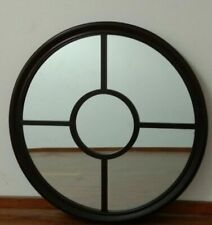 Contemporary Style Dark Chocolate Round Grid Mirror 80cm