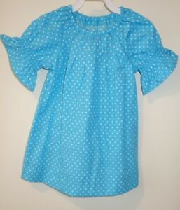 New In Package Kelly's Kids Sharon Turquoise/White Small Dot Dress Size 6-7