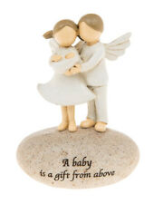 New Baby figurine with parent angels 10.5cm A baby is a gift from above