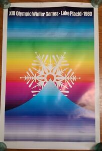 Original Poster 1980 Lake Placid NY XIII Winter Games Olympics 22x33 - damaged