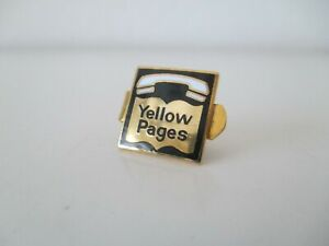 Vtg Mtn States Telephone Yellow Pages Tie Clasp Goldtone & Enamel Pre 1984