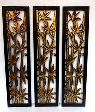 Hand Made Set of 3 Distressed Gold Bamboo Forest Unusual Ethnic Wall Plaque Set